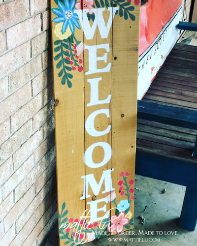Front Porch Welcome Sign| Front Porch Decor| Spring Decor| Spring Flower Welcome Sign| Flower Welcome Sign