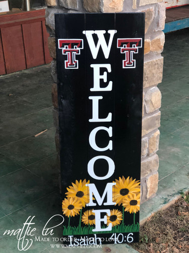 Front Porch Welcome Sign| Front Porch Decor| Texas Tech Welcome Sign| College Welcome Sign| Sunflower Welcome Sign| Bible Verse| Custom Welcome Sign