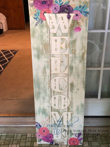 Front Porch Welcome Sign| Front Porch Decor| Unique Letters| Floral Welcome Sign