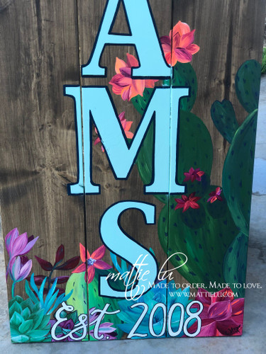 Front Porch Decor| Custom Front Porch Welcome Sign|Name Porch Sign| Welcome Sign| Floral| Cactus|
