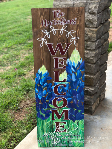 Front Porch Decor| Custom Front Porch Welcome Sign| Name Porch Sign|Welcome Sign| Bluebonnets| Bluebonnet Welcome Sign
