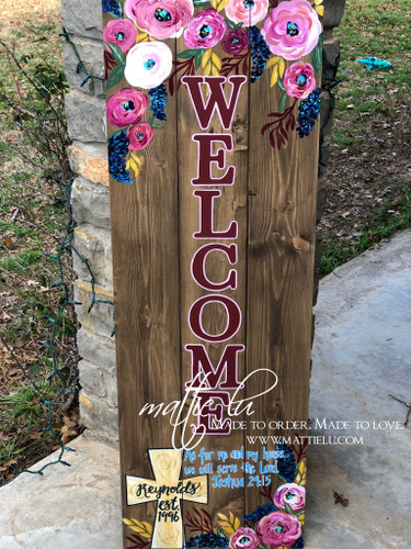 Front Porch Decor| Custom Front Porch Welcome Sign| Welcome Sign|Bible Verse| Cross| Flowers|  Name Porch Sign