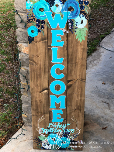 Front Porch Decor| Custom Front Porch Welcome Sign| Custom Welcome Sign| Name Sign| Antlers| Flowers| Blue Letters