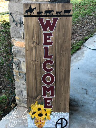 Front Porch Decor| Custom Front Porch Welcome Sign| Sunflowers| Custom Welcome Sign|Maroon Letters