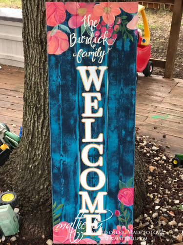 Front Porch Decor| Custom Welcome Sign| Floral Welcome Sign| Pink Flowers|