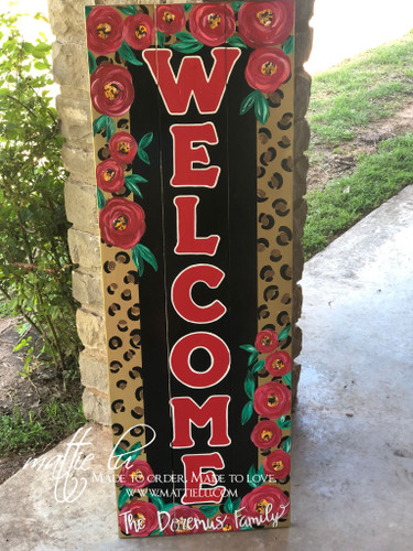Front Porch Decor| Custom Welcome Sign| Cheetah Border Welcome Sign| Cheetah and Flowers|