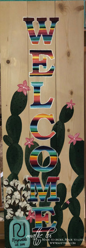Front Porch Decor| Custom Welcome Sign Cactus Welcome Sign| Serape and Cactus