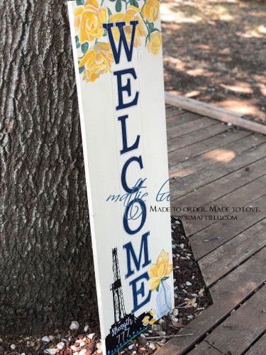 Front Porch Decor| Custom Welcome Sign| Oil Rig| Yellow Flowers| Oil Rig Welcome Sign