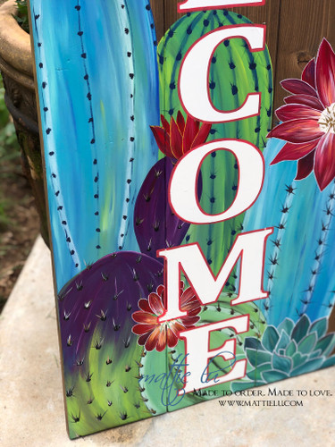 Front Porch Decor| Custom Welcome Sign| Vibrant Cactus| Flowering Cactus
