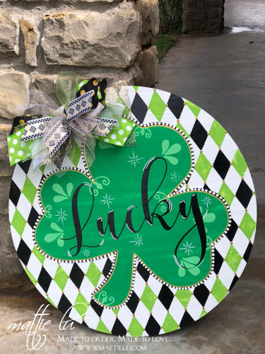 Saint Patrick's Day Door Decor| St Patties Day| Circle Door Hanger| Irish Door Decor| Custom Door Hanger| St Patricks Day Door Hanger| Lucky| Lucky Door Hanger