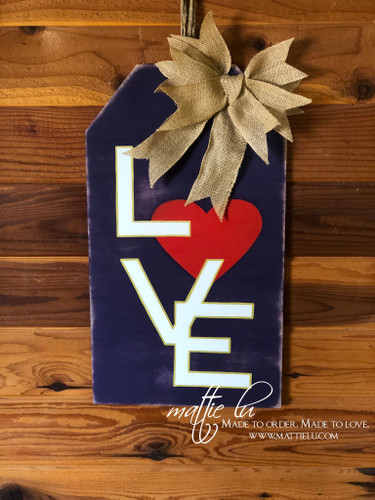 Valentines Decor| Valentines Door Hanger| Tag Door Hanger| Love Tag