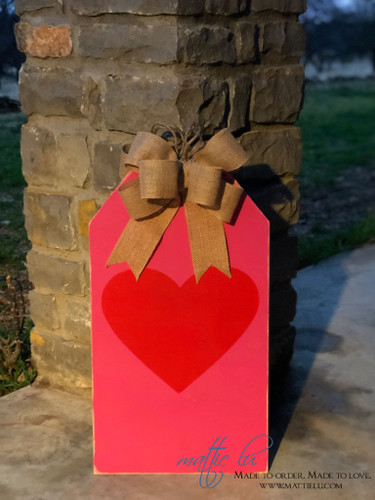 Valentines Door Decor| Red Heart Tag| Pink Tag| Valentines Decor| Tag Door Hanger