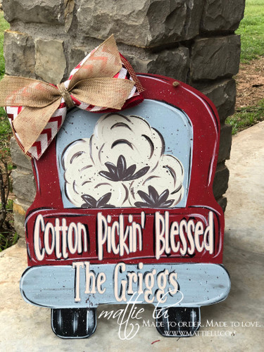 Custom Door Decor| Truck Door Hanger| Cotton Pickin' Blessed| Name Door Hanger| Cotton Pickin' Blessed Truck Door Hanger| Custom Name Truck