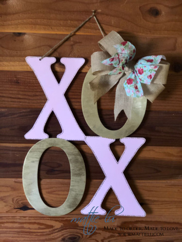 Valentine's Door Decor| XOXO Door Hanger| Pink and Gold XOXO