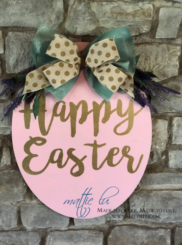 Easter Door Decor| Easter Egg| Custom Easter Egg| Oval Door Hanger| Easter Egg Door Hanger|Happy Easter Egg| Happy Easter Door Hanger