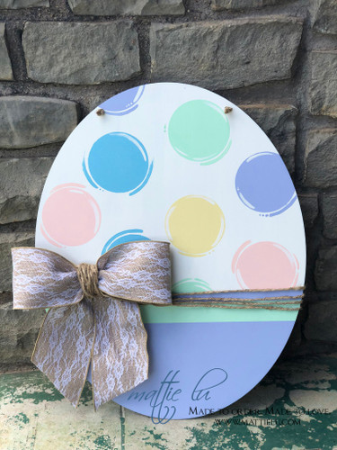 Easter Door Decor| Easter Egg| Custom Easter Egg| Oval Door Hanger| Easter Egg Door Hanger| Polka Dot Oval| Polka Dot Easter Egg