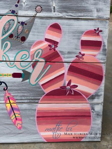 Custom Name Sign| Wooden Signs| Flamingo| Serape Cactus| Pink Serape