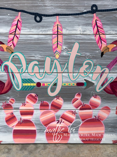 Custom Name Sign| Wooden Signs| Flamingo| Serape Cactus| Pink Serape
