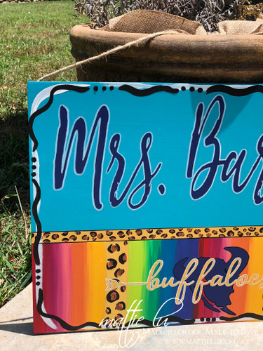 Custom Name Sign| Wooden Signs| Serape and Cheetah| Teacher Signs| School Door Hanger| Teacher Door Decor