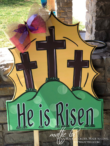 Easter Decor| Easter Yard Sign| Yard Decor| He Is Risen Sign|