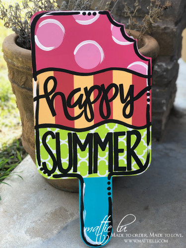 Summer Decor| Happy Summer| Front Door Decor| Happy Summer Yard Sign| Popsicle Sign| Popsicle Door Decor