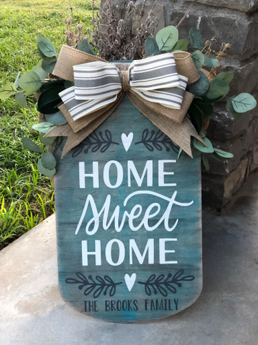 Welcome Door Hanger| Front Door Decor| Mason Jar Welcome Sign| Home Sweet Home Mason Jar