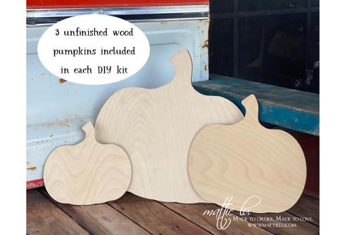 Beginner DIY Pumpkin Kit | Fall Home Decor | Unfinished Pumpkin Set of 3 | Adult Craft Kit Fall | Wooden Craft Pumpkin | Fall Decor Kit