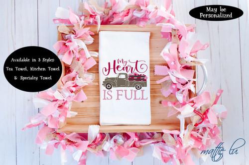 Farmtruck Valentine's Day Tea Towel, Valentine Kitchen Towel, Galentine Gift for Her, Valentines Day Favor, Farmhouse Dish Towel, Mattie Lu