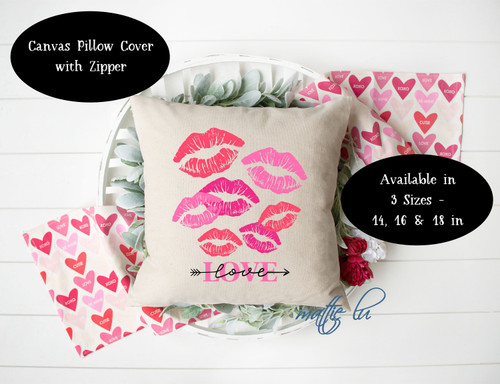 Valentine Kisses Pillow Cover 14 x 14, 16 x 16 and 18 x 18, Valentine's Day Throw Pillow Cover, Farmhouse Accent Pillow Cover, Mattie Lu