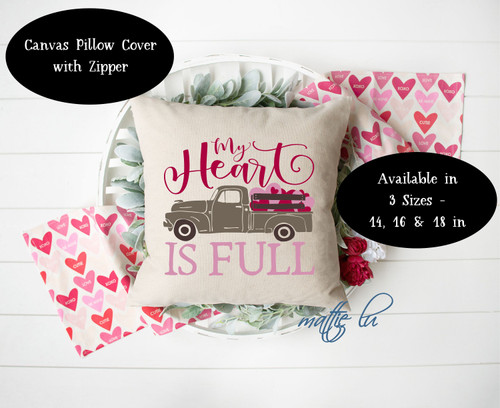 Farmtruck 14x14 16x16 18x18 Valentine Pillow Cover, Valentines Day Throw Pillow Cover, Farmhouse Accent Pillow Cover, Home Decor, Mattie Lu