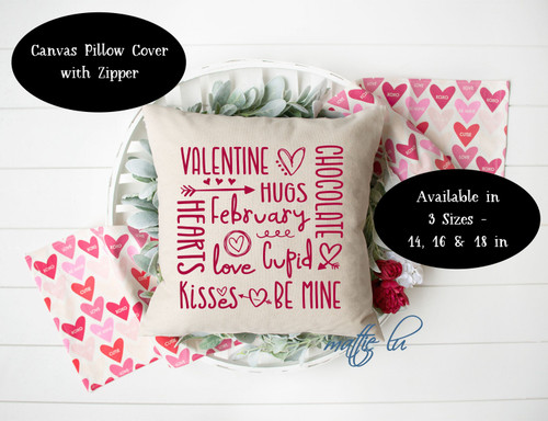 Valentine Decor Pillow Cover 14 x 14, 16 x 16 and 18 x 18, Valentine's Day Throw Pillow Cover, Farmhouse Accent Pillow Cover Slip, Mattie Lu