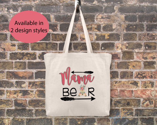 Mama Bear Tote Bag, Gift Ideas Personalized Canvas Tote Bag for Mom, Gift for Her Shopping Bag, Cute Tote Bag Christmas Gift, Mattie Lu