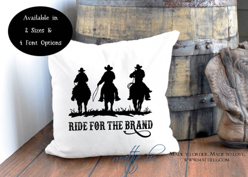 Ride For The Brand Pillow Cover | Yellowstone TV | Dutton Ranch | Western | Cowboys | Horses | Ranch Pillow | Rustic Home Decor | Unique
