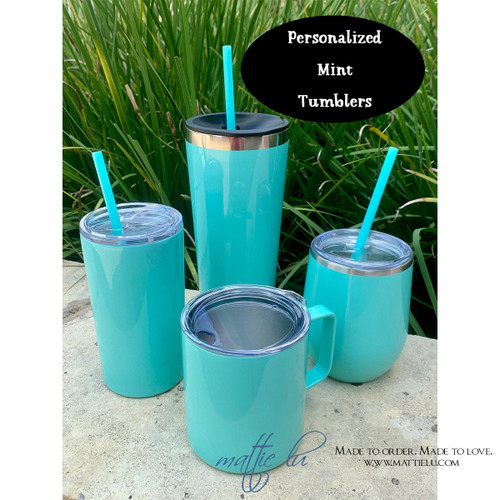 Gift for Her Personalized Tumbler with Straw, Bridesmaid Proposal Mint Custom Stainless Steel Tumbler with Straw, Bridesmaid Gift, Mattie Lu