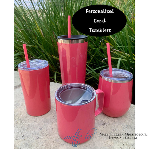 Coral Personalized Tumbler with Straw