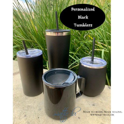 Personalized Black Tumbler with Straw