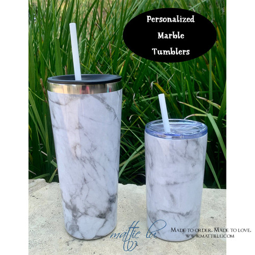 Personalized Marble Tumbler with Straw