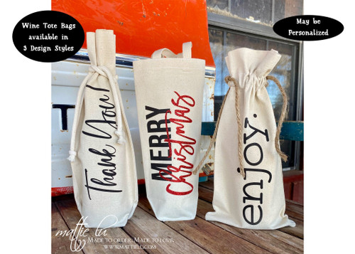 Christmas Wine Gift Bag, Hostess Gift Wine Tote Bag, Wine Lover Gift, Housewarming Gift Wine Bag, Reusable Canvas Wine Tote, Mattie Lu