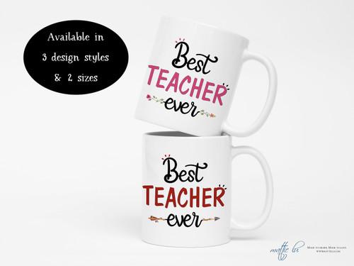 Personalized Teacher Mug Gift, Best Teacher Ever Coffee Mug, Teacher Appreciation Coffee Mug, Thank You Teacher Gifts, Christmas, Mattie Lu