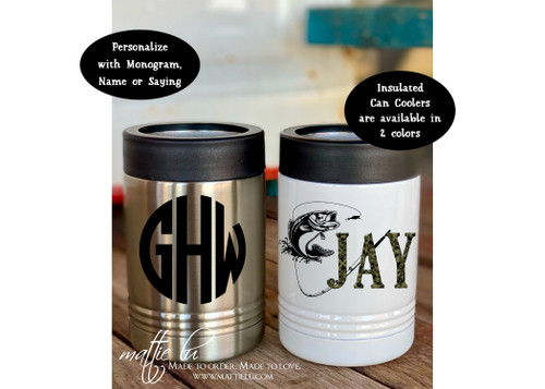 Custom Can Cooler for Man, Personalized Koozies, Insulated Beverage Holder, Custom Koozie Wedding Favors, Custom Beer Can Holder, Mattie Lu