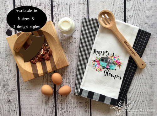 Happy Glamper Kitchen Towel | Vintage Camper Dish Towel with Flowers | Camper Decor | Camper Tea Towel | Retro Happy Glamper | Camper Gift