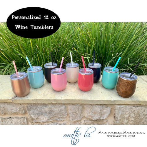 Personalized Stainless Steel Wine Tumbler with Straw