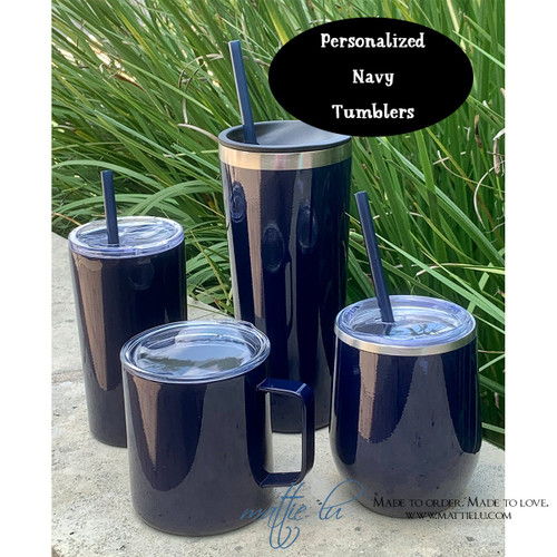Personalized Navy Tumbler with Straw