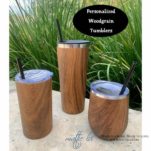 Personalized Woodgrain Tumbler with Straw