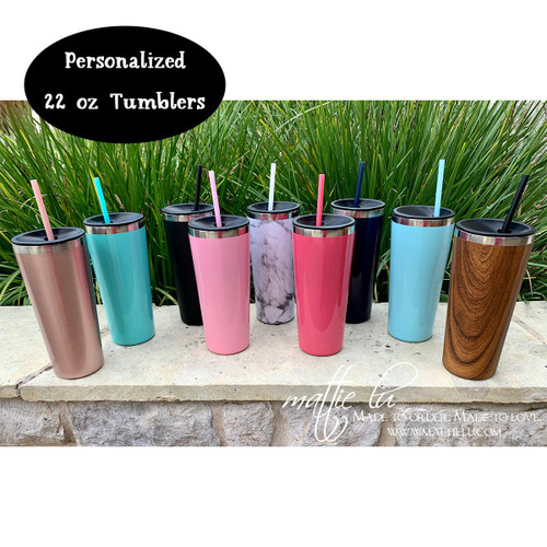 Personalized Large Stainless Steel Insulated Tumbler with Straw