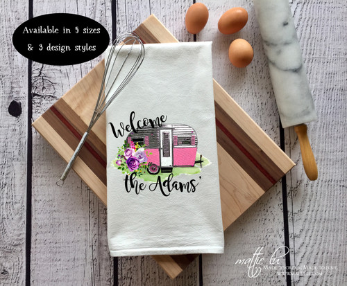Personalized Welcome to our Camper | Retro Camper with Flowers | Vintage Camper Decor | Personalized Camper Gift | Personalized Towel Sets