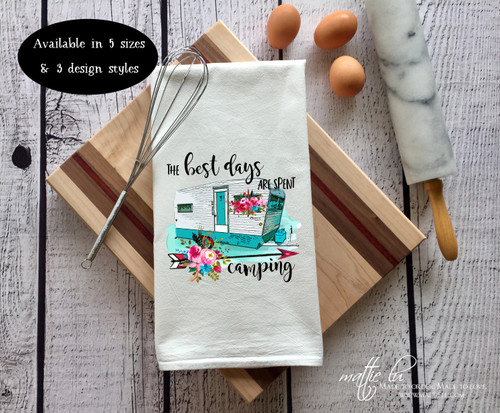 The Best Days Are Spent Camping Tea Towel | Vintage Camper | Camper Dish Towel | Camper Decor | Camping Tea Towel | Retro Camper | Camping
