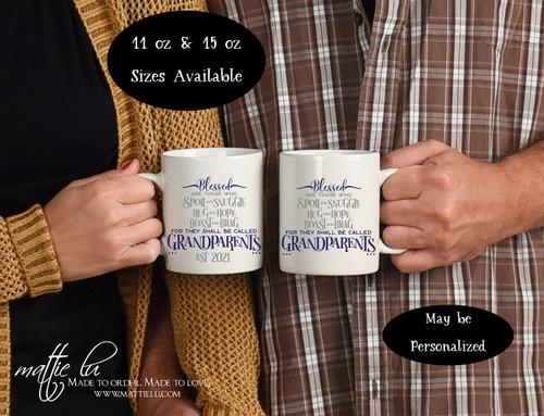 Pregnancy Reveal New Grandparents Baby Announcement Custom Gift Set Grandma and Grandpa Mugs est 2021 Personalized Grandparent Coffee Mug