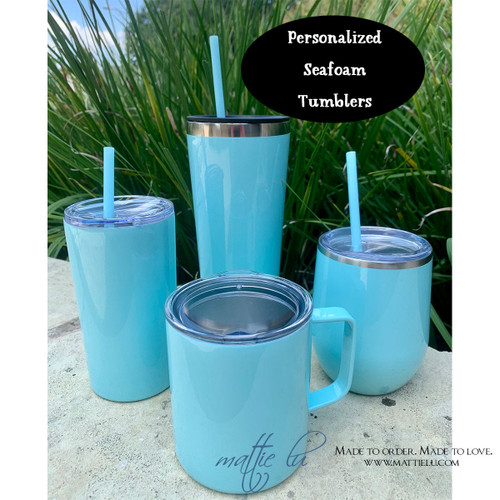 Personalized Seafoam Tumbler with Straw