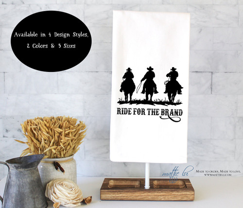 Ride For The Brand Tea Towel | Yellowstone TV Series | Dutton Ranch | Rustic Decor | Western | Cowboys | Horses | Kitchen Towel | Flour Sack